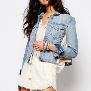 FREE PEOPLE Lace Paneled Denim Cropped Jean Jacket